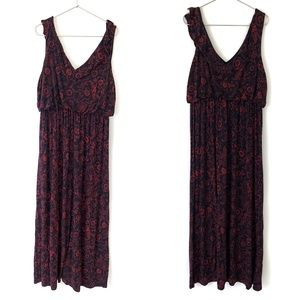 LOFT Red Black Floral V-neck Sleeveless Maxi Dress
